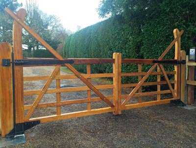 A pair of automated Yeoman 5 bar gates