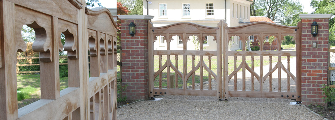 Ornate open face automated oak gate