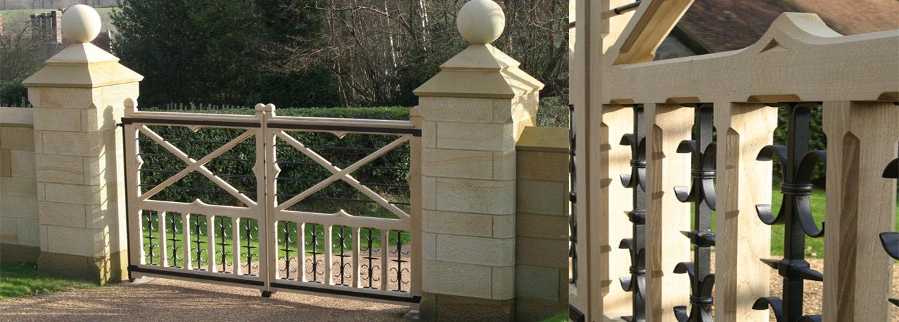 Open face ornate automated oak gate