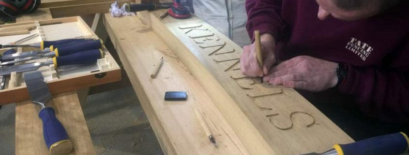 Hand engraving a bespoke gate frame