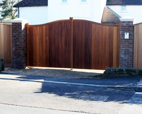 A Pair of automated Iroko Cranborne gates