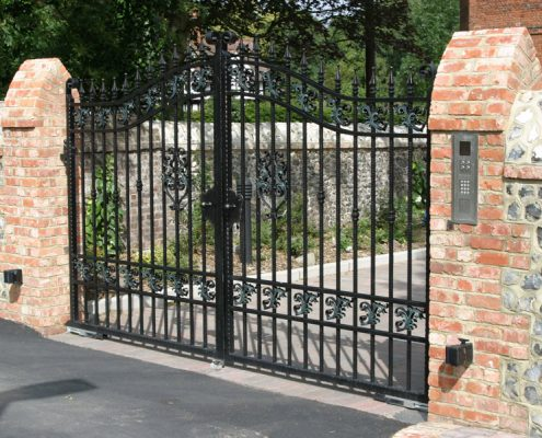 Ornate metal automatic gates