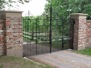 Pair of steel electric gates