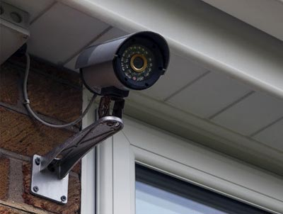 CCTV camera mounted on wall