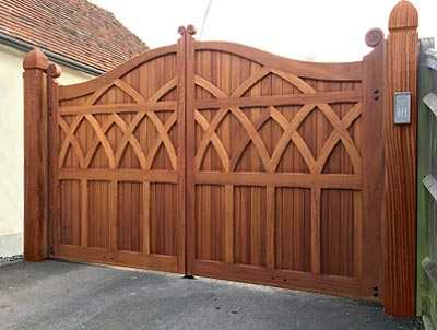 Automated Iroko hardwood trinity timber gates