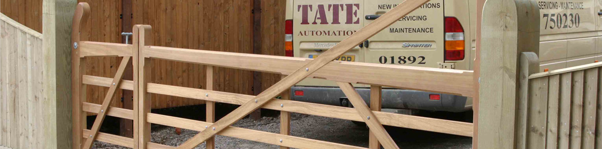 Hardwood yeoman 5 bar gate being installed